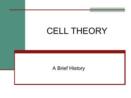 CELL THEORY A Brief History. Robert Hooke named the cell [1665] based on observations of the cell walls of cork tissue.