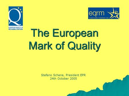 The European Mark of Quality Stefano Schena, President EPR 24th October 2005.