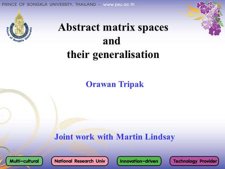 Abstract matrix spaces and their generalisation Orawan Tripak Joint work with Martin Lindsay.