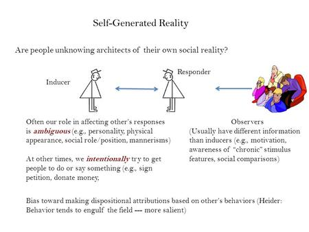 Bias toward making dispositional attributions based on other's behaviors (Heider: Behavior tends to engulf the field --- more salient) Self-Generated Reality.