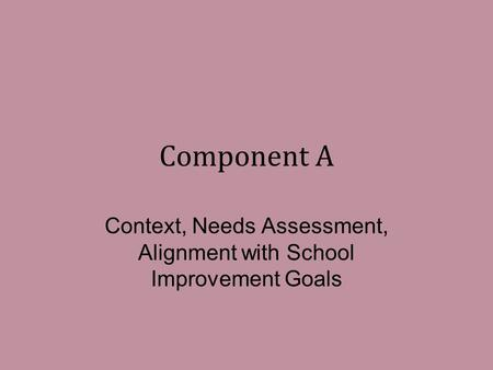 Component A Context, Needs Assessment, Alignment with School Improvement Goals.