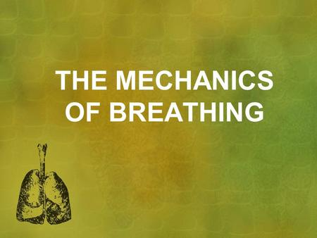 THE MECHANICS OF BREATHING. BREATHING Breathing change in air pressure in lungs Air moves from high pressure to low pressure.