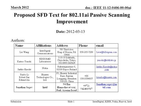 Submission doc.: IEEE 11-12-0406-00-00ai March 2012 InterDigital, KDDI, Nokia, Huawei, IntelSlide 1 Proposed SFD Text for 802.11ai Passive Scanning Improvement.