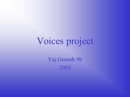 Voices project Yaj Goorah 9b 2005. Personal information Name: Beryl May Thompson D.O.B: 5/07/1945 Place of birth: Manchester Parents names: Joseph brown.