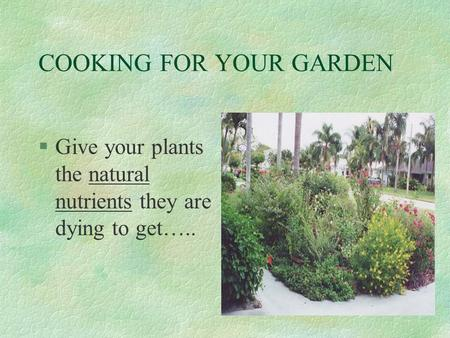 COOKING FOR YOUR GARDEN §Give your plants the natural nutrients they are dying to get…..