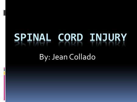 By: Jean Collado. About The Spinal Cord  The spinal cord is about 18 inches long and extends from the base of the brain, down the middle of the back,