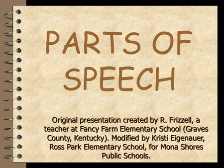 PARTS OF SPEECH Original presentation created by R. Frizzell, a teacher at Fancy Farm Elementary School (Graves County, Kentucky). Modified by Kristi.