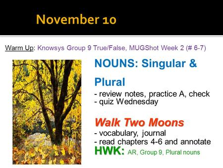 Warm Up: Knowsys Group 9 True/False, MUGShot Week 2 (# 6-7) NOUNS: Singular & Plural - review notes, practice A, check - quiz Wednesday Walk Two Moons.