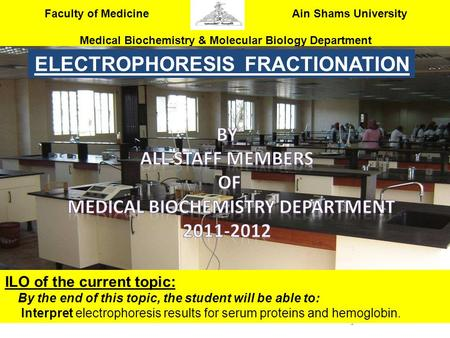 ELECTROPHORESIS FRACTIONATION Medical Biochemistry Department