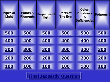Final Jeopardy Question Types of Light Paints & Pigments 500 Potpourri Parts of The Eye Color Blindness & Deficiencies 100 200 300 400 500 400 300 200.