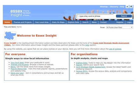 2 The aim of Essex Insight (www.essexinsight.org.uk ) is to share a wide range of information with the public and organisations that operate in Essex.www.essexinsight.org.uk.