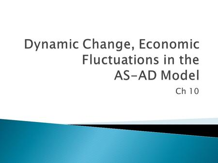 Ch 10.  Analyze the impact of unanticipated changes in aggregate demand and short run aggregate supply  Evaluate the economy's self-correcting mechanism.