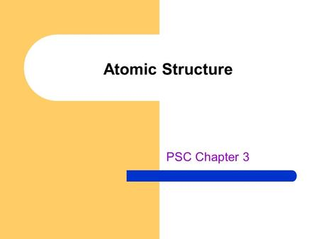 Atomic Structure PSC Chapter 3. Atomic Theory of Matter Evidence of atoms Law of Definite Proportions Law of Conservation of Mass Law of Multiple Proportions.