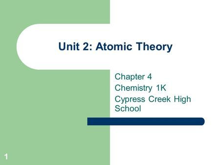 1 Unit 2: Atomic Theory Chapter 4 Chemistry 1K Cypress Creek High School.