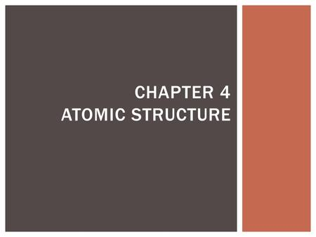 CHAPTER 4 ATOMIC STRUCTURE.  Define Democritus's ideas about atoms  Explain Dalton's Atomic Theory  Identify what instrument is used to observe individual.