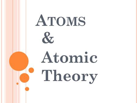 A TOMS & Atomic Theory. D EFINING THE A TOM An atom is the smallest particle of an element that retains its identity in a reaction. The basic building.
