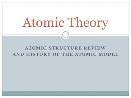ATOMIC STRUCTURE REVIEW AND HISTORY OF THE ATOMIC MODEL Atomic Theory.