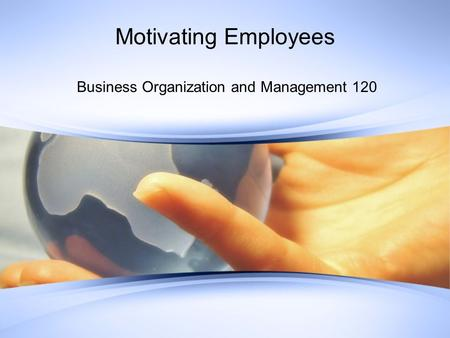 Motivating Employees Business Organization and Management 120.