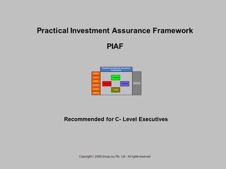 Practical Investment Assurance Framework PIAF Copyright © 2009 Group Joy Pty. Ltd. All rights reserved. Recommended for C- Level Executives.