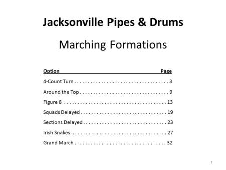 Jacksonville Pipes & Drums Marching Formations 1 Option Page 4-Count Turn................................... 3 Around the Top.................................