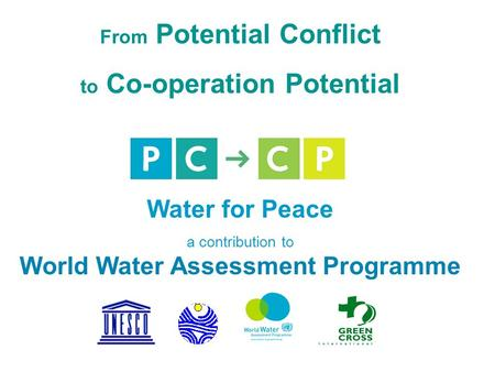 From Potential Conflict to Co-operation Potential Water for Peace a contribution to World Water Assessment Programme.