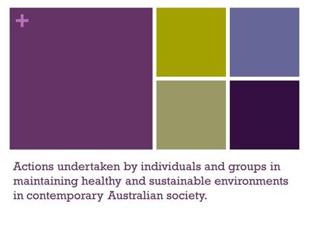 + Actions undertaken by individuals and groups in maintaining healthy and sustainable environments in contemporary Australian society.