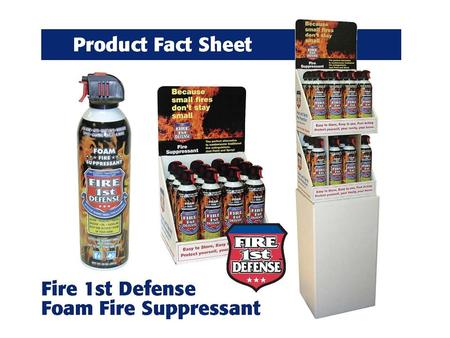 "FIRE 1 ST DEFENSE FIRE SUPPRESSANT 12/20oz. FIRE 1 ST DEFENSE Unit Length = 2.5"" Unit Width = 2.5' Unit Height = 10.5"" Net Weight = 20 oz. Unit Weight."