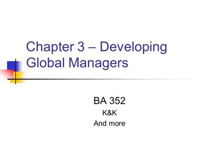 Chapter 3 – Developing Global Managers BA 352 K&K And more.