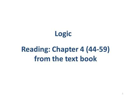 Reading: Chapter 4 (44-59) from the text book