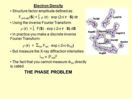 THE PHASE PROBLEM Electron Density