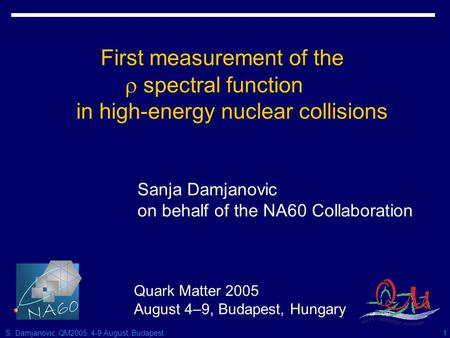 S. Damjanovic, QM2005, 4-9 August, Budapest1 First measurement of the  spectral function in high-energy nuclear collisions Sanja Damjanovic on behalf.
