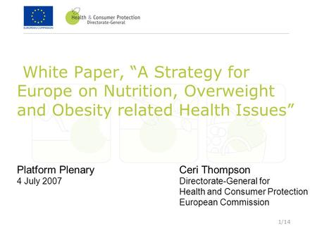 "1/14 White Paper, ""A Strategy for Europe on Nutrition, Overweight and Obesity related Health Issues"" Platform Plenary 4 July 2007 Ceri Thompson Directorate-General."