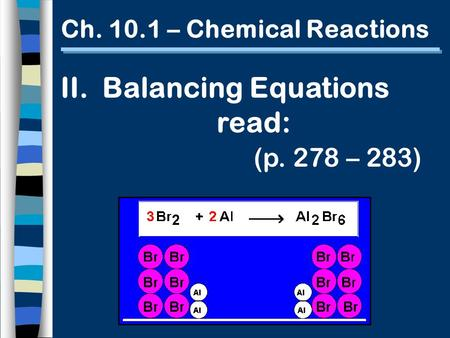 Ch. 10.1 – Chemical Reactions II. Balancing Equations read: (p. 278 – 283)