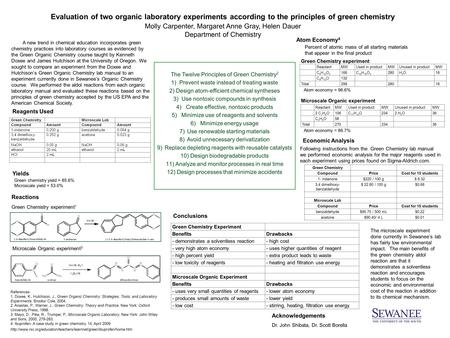 Evaluation of two organic laboratory experiments according to the principles of green chemistry Molly Carpenter, Margaret Anne Gray, Helen Dauer Department.