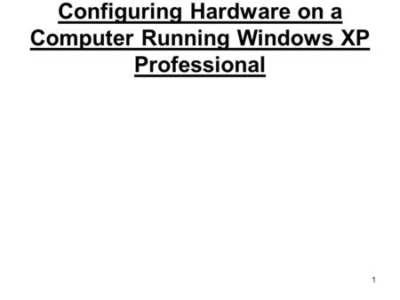 1 Configuring Hardware on a Computer Running Windows XP Professional.