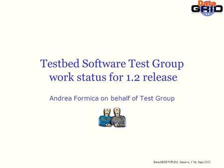 DataGRID WPMM, Geneve, 17th June 2002 Testbed Software Test Group work status for 1.2 release Andrea Formica on behalf of Test Group.