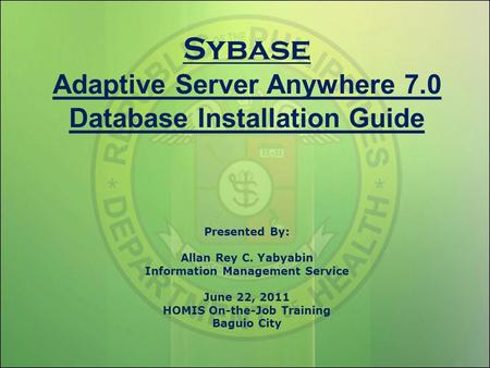 Sybase Adaptive Server Anywhere 7
