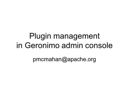 Plugin management in Geronimo admin console
