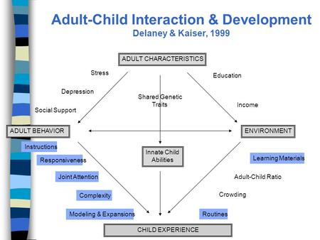 Responsiveness RoutinesModeling & Expansions Complexity Education Income Crowding Adult-Child Ratio Depression Stress Social Support Learning Materials.