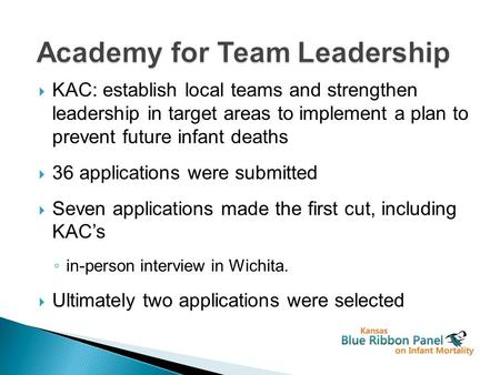  KAC: establish local teams and strengthen leadership in target areas to implement a plan to prevent future infant deaths  36 applications were submitted.