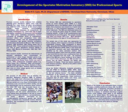 Development of the Spectator Motivation Inventory (SMI) for Professional Sports Eddie T.C. Lam, Ph.D. (Department of HPERD, Cleveland State University,