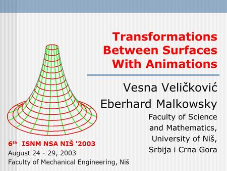 Transformations Between Surfaces With Animations Vesna Veličković Eberhard Malkowsky Faculty of Science and Mathematics, University of Niš, Srbija i Crna.