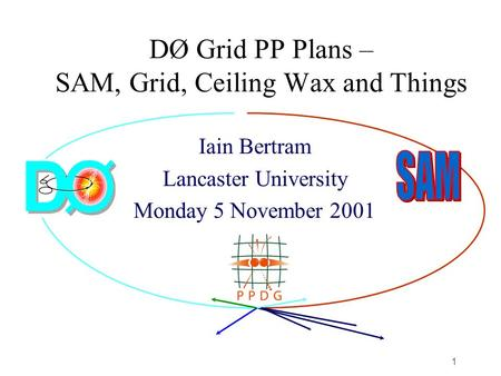 1 DØ Grid PP Plans – SAM, Grid, Ceiling Wax and Things Iain Bertram Lancaster University Monday 5 November 2001.
