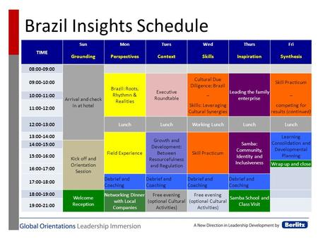Brazil Insights Schedule TIME SunMonTuesWedThursFri GroundingPerspectivesContextSkillsInspirationSynthesis 08:00-09:00 Arrival and check in at hotel 09:00-10:00.