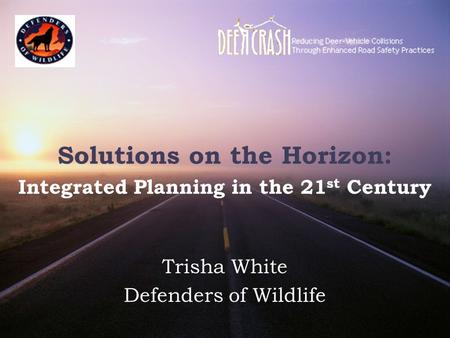 Solutions on the Horizon: Integrated Planning in the 21 st Century Trisha White Defenders of Wildlife.
