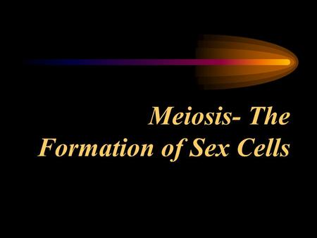 Meiosis- The Formation of Sex Cells. I. Introduction to Meiosis A. Purpose - to make sex cells for reproduction. B. Why can't mitosis do this? 1. Mitosis.