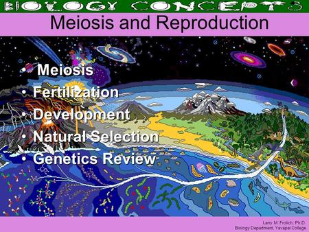 Larry M. Frolich, Ph.D. Biology Department, Yavapai College Meiosis and Reproduction Meiosis Meiosis FertilizationFertilization DevelopmentDevelopment.