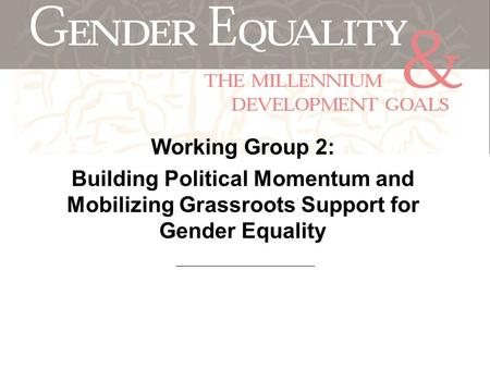 Working Group 2: Building Political Momentum and Mobilizing Grassroots Support for Gender Equality.