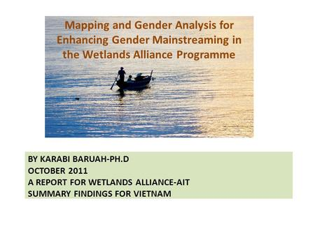 Mapping and Gender Analysis for Enhancing Gender Mainstreaming in the Wetlands Alliance Programme BY KARABI BARUAH-PH.D OCTOBER 2011 A REPORT FOR WETLANDS.