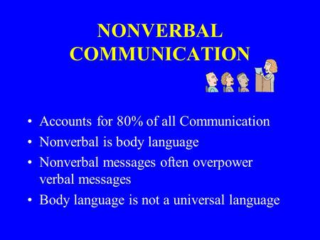 NONVERBAL COMMUNICATION Accounts for 80% of all Communication Nonverbal is body language Nonverbal messages often overpower verbal messages Body language.
